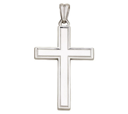 Sterling Square Edge Polished Cross Pendant