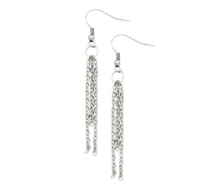 Stainless Steel Fancy Multi-Strand Dangle Earrings