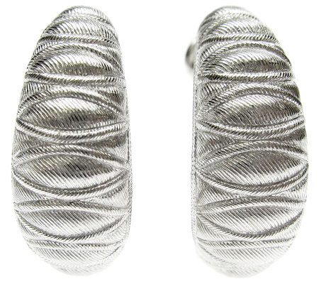 Judith Ripka Sterling Textured Hoop Earrings