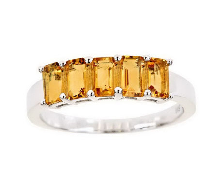 Sterling 5-Stone Emerald-Cut Gemstone Band Ring