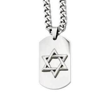 "Forza Men's Stainless Steel 24"" Star of David Dog Tag Necklac - J312236"