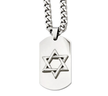 "Forza Men's Stainless Steel 24"" Star of David Dog Tag Necklac"