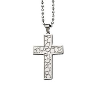 "Forza Stainless Steel Cobblestone Cross Pendantw/ 24"" Chain - J313136"