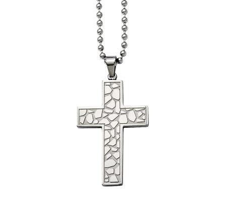 Forza Stainless Steel Cobblestone Cross Pendantw/ 24