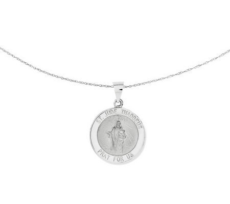 "Polished Saint Jude Thaddeus Pendant w/ 18"" Chain, 14K Gold"