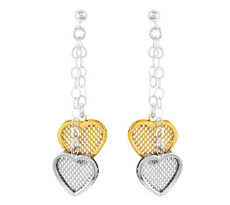 Sterling Two-tone Mesh Heart with Chain DangleEarrings