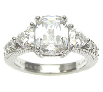 Judith Ripka Sterling Diamonique Cushion- & Trillion-Cut Ring - J314836