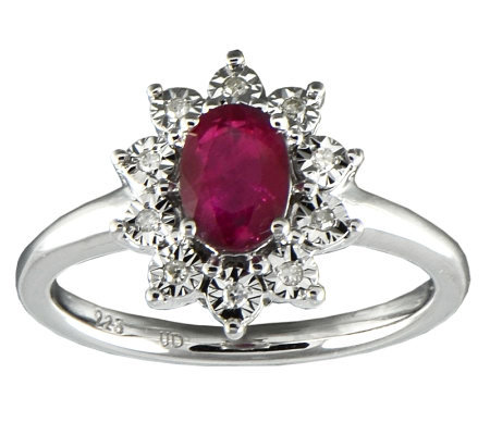 Oval Ruby & Diamond Accent Ring, Sterling