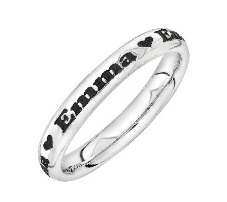 Simply Stacks Sterling Personalized Heart Accent Band Ring