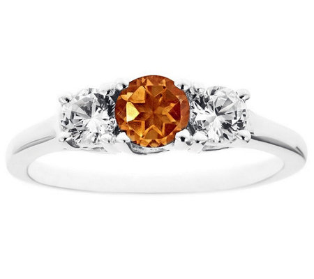 Sterling Silver Three-Stone Gemstone Ring
