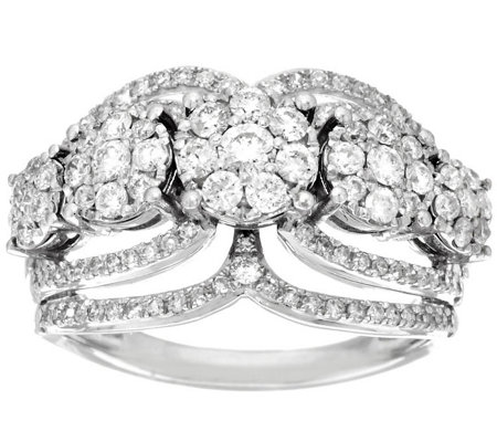 5-Stone Cluster Design Diamond Ring, 14K 1.00 cttw by Affinity