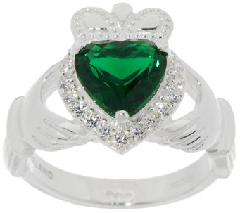 Solvar Sterling Silver & Green Crystal Claddagh Ring - J318736