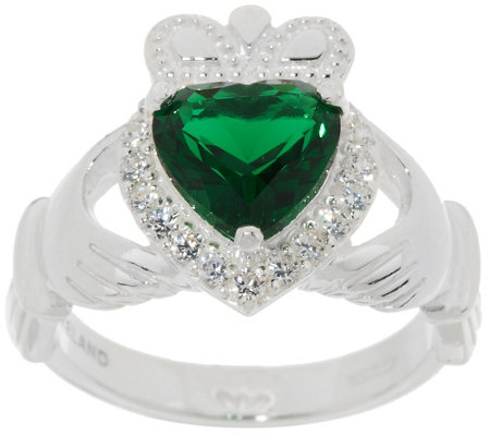Solvar Sterling Silver & Green Crystal Claddagh Ring