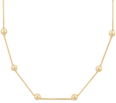 "14K Gold 20"" Polished Bead Station Necklace, 3.0g"