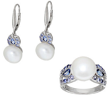 Honora Cultured Pearl 10.0mm & Tanzanite Sterling Ring or Earrings - J320136