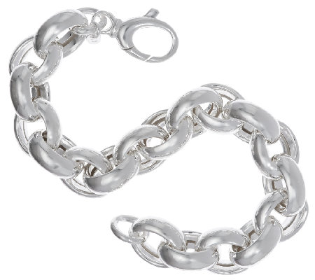"UltraFine Silver 8"" Polished Oval Rolo Link Bracelet, 37.0g"
