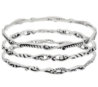 Carolyn Pollack Sterling Silver Set of Three Signature Bangles - J320936