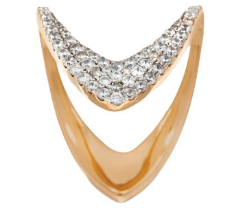 "Bronzo Italia Open ""V"" Design Diamonique Ring by Bronzo Italia - J321736"