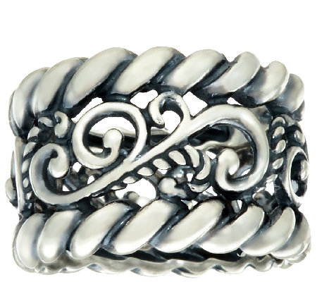 Carolyn Pollack Sterling Silver Signature & Rope Design Band Ring