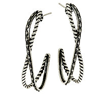 Sterling Silver Textured X Hoop Earrings by American West - J326036