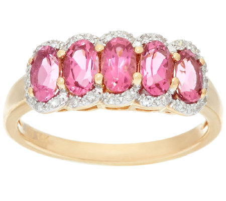 Pink Tourmaline & Diamond 5-Stone Band Ring, 14K Gold 1.00 ct tw