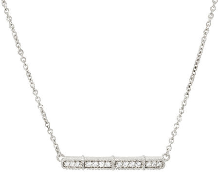 Judith Ripka Sterling Diamonique Bar Necklace