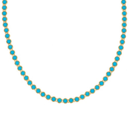 "Sleeping Beauty Turquoise Sterling 18"" Diamond Cut Tennis Necklace"