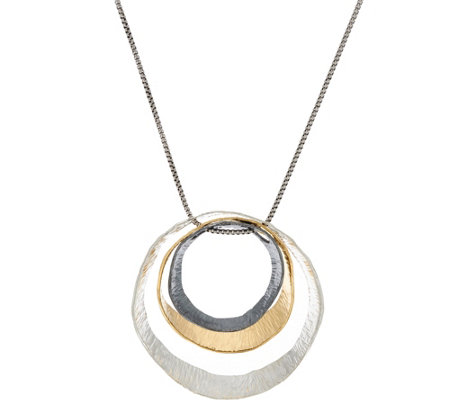 "Sterling Silver 30"" Tri-color Circle Necklace by Or Paz 18.0g"