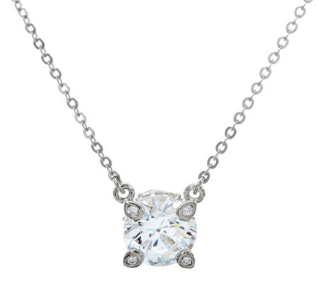 Diamonique 2.15 cttw Solitaire Necklace, Platinum Clad