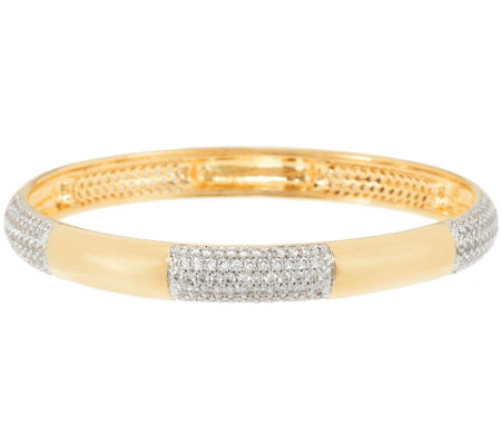 """As Is"" Bronze Crystal Station Round Slip-on Bangle by Bronzo Italia"