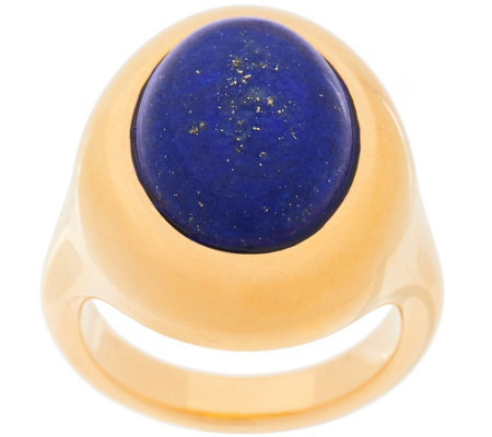 """As Is"" 14K Gold Bold Oval Lapis Ring"