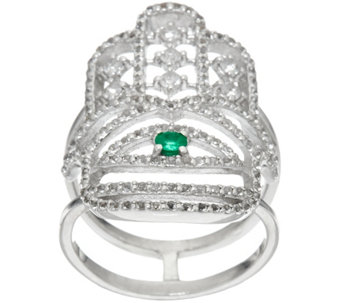 Luv Tia Sterling Emerald & White Topaz Hamsa Ring - J330236