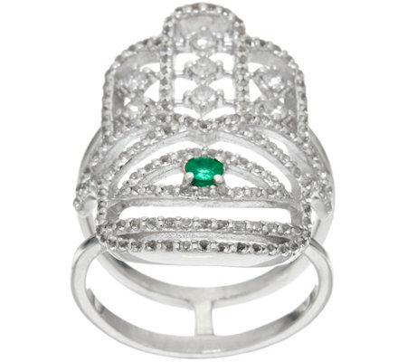 Luv Tia Sterling Emerald & White Topaz Hamsa Ring
