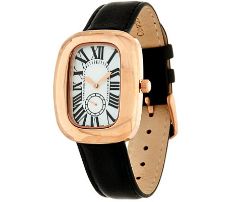 """As Is"" Bronze Bold Polished Leather Strap Watch by Bronzo Italia"