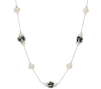 "Sterling Rose & Cultured Pearl Station 18"" Necklace by Or Paz - J330436"