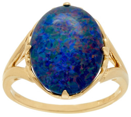 """As Is"" Australian Opal Triplet Bold Ring, 14K Gold"