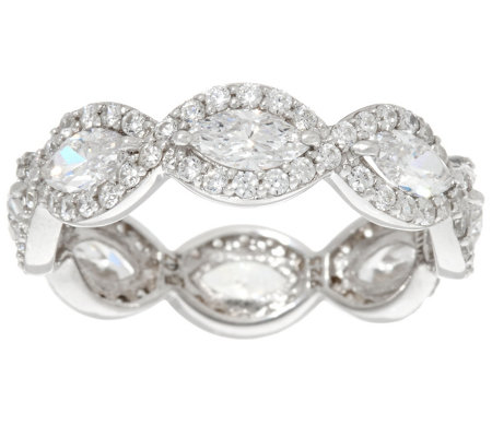 Diamonique Marquise Halo Eternity Band Ring, Sterling