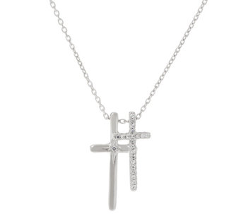 Hallmark Sterling Double Cross Pendant with Chain - J333436