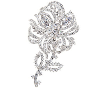 """As Is"" Joan Rivers Pave' Crystal Flower Brooch with Removable Stem - J335236"