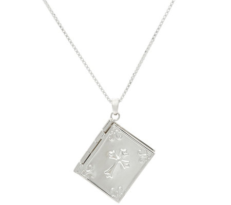 Sterling silver bible pendant with 18 chain by silver style page sterling silver bible pendant with 18 chain by silver style mozeypictures Image collections