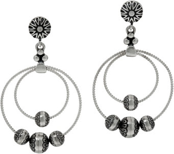 Sterling Silver Stamped Bead Dangle Earrings by American West - J348736