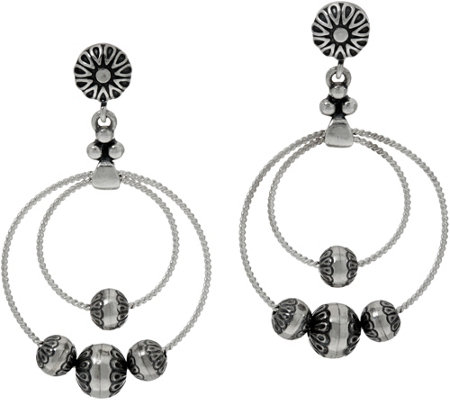 American West Sterling Silver Stamped Bead Dangle Earrings