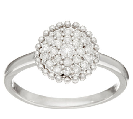"""As Is"" Pave' White Diamond Ring, Sterling Silver 1/4 cttw by Affinity"