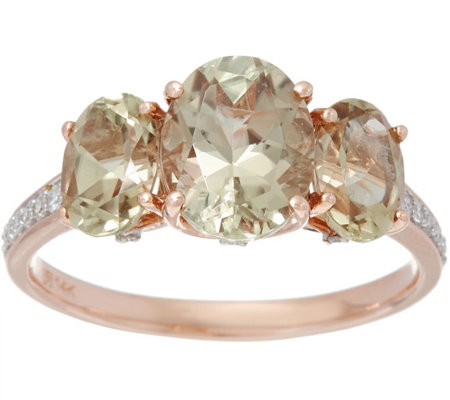 3-Stone Csarite and Diamond Ring, 14K Gold 3.00 cttw