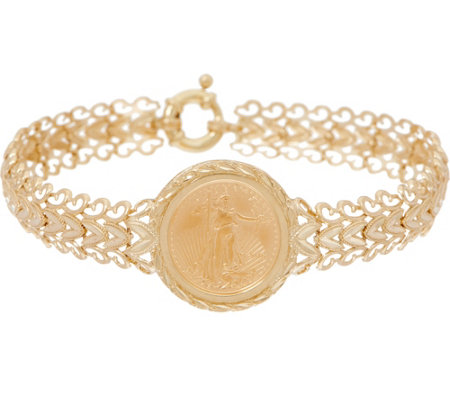 "14K/22K Gold 8"" Liberty Coin Chevron Bracelet"