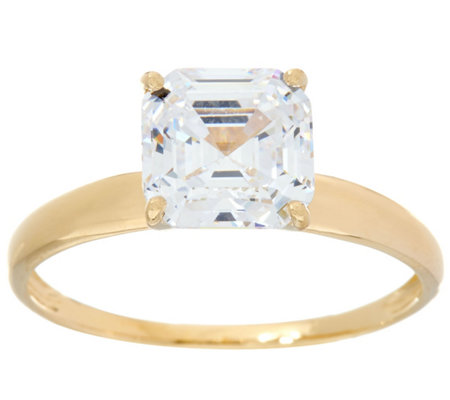 """As Is"" Diamonique 2.00 cttw Solitaire Ring, 14K Yellow Gold"