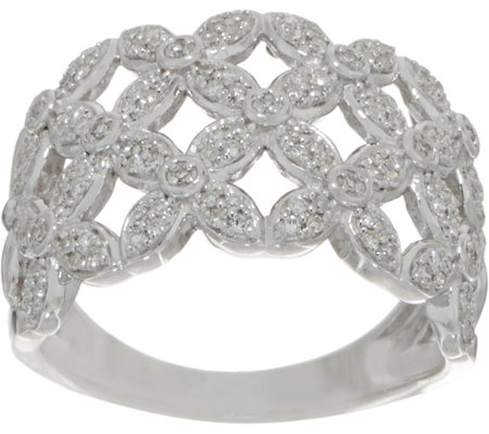 White Diamond Floral Ring, 1/3 cttw, Sterling, by Affinity