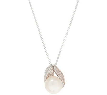 Honora Cultured Pearl White Topaz Pendant w/Chain Sterling