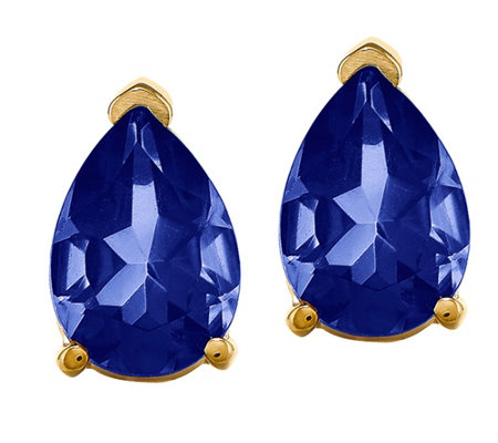 14K Pear-Shaped Gemstone Stud Earrings