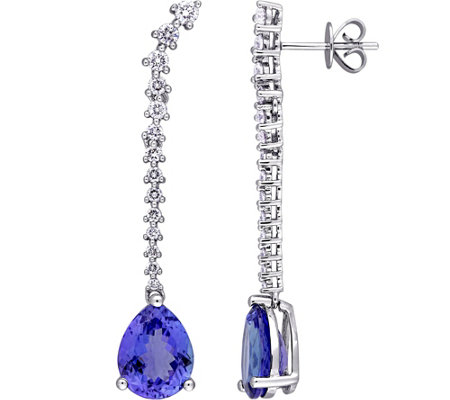 4.8 cttw Tanzanite & 7/10 cttw Diamond Drop Earrings, 14K